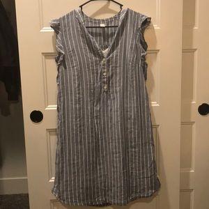 Light Blue & White Striped Dress